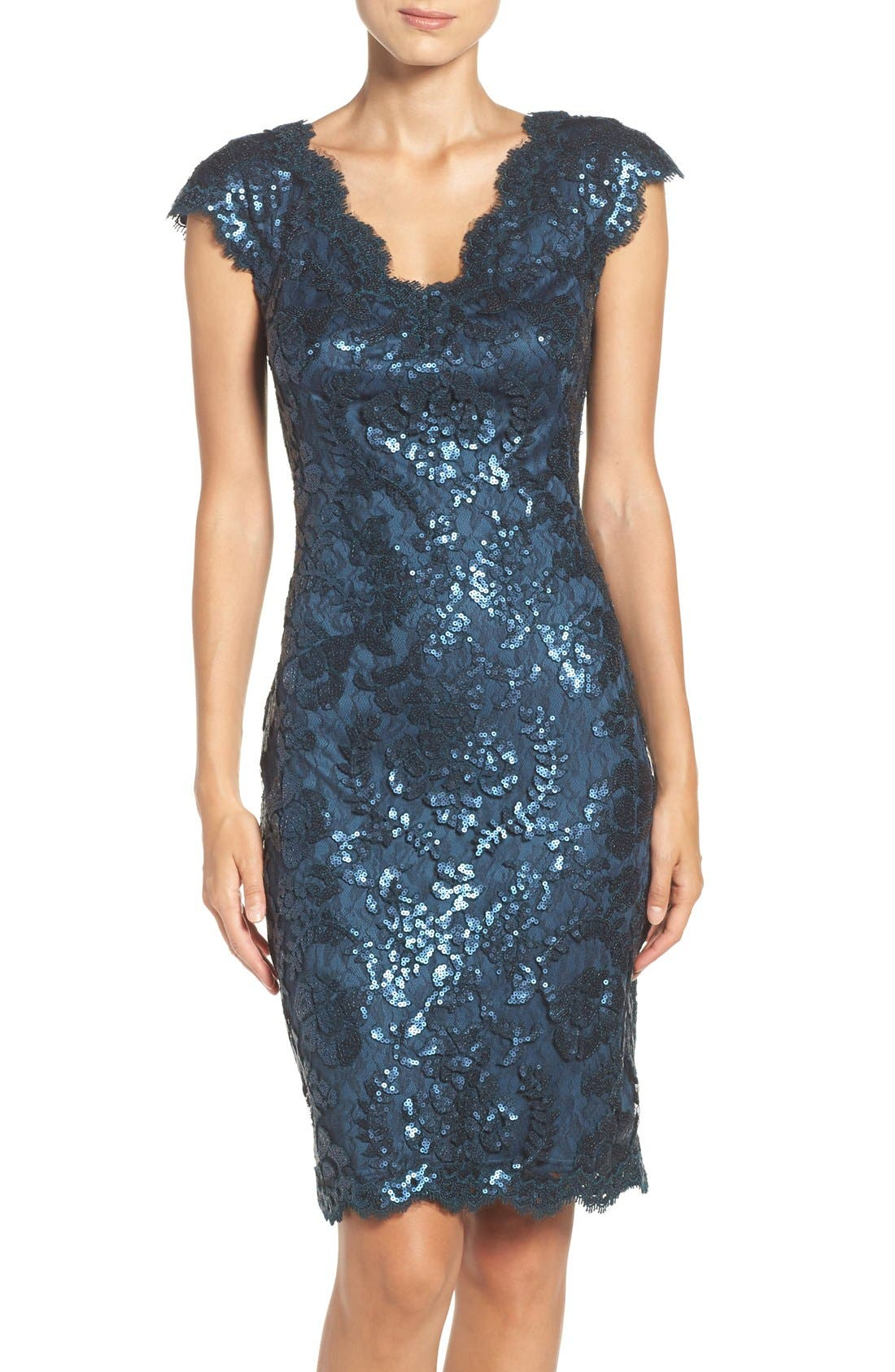 Main Image - Tadashi Shoji Sequin Sheath Dress (Regular & Petite)