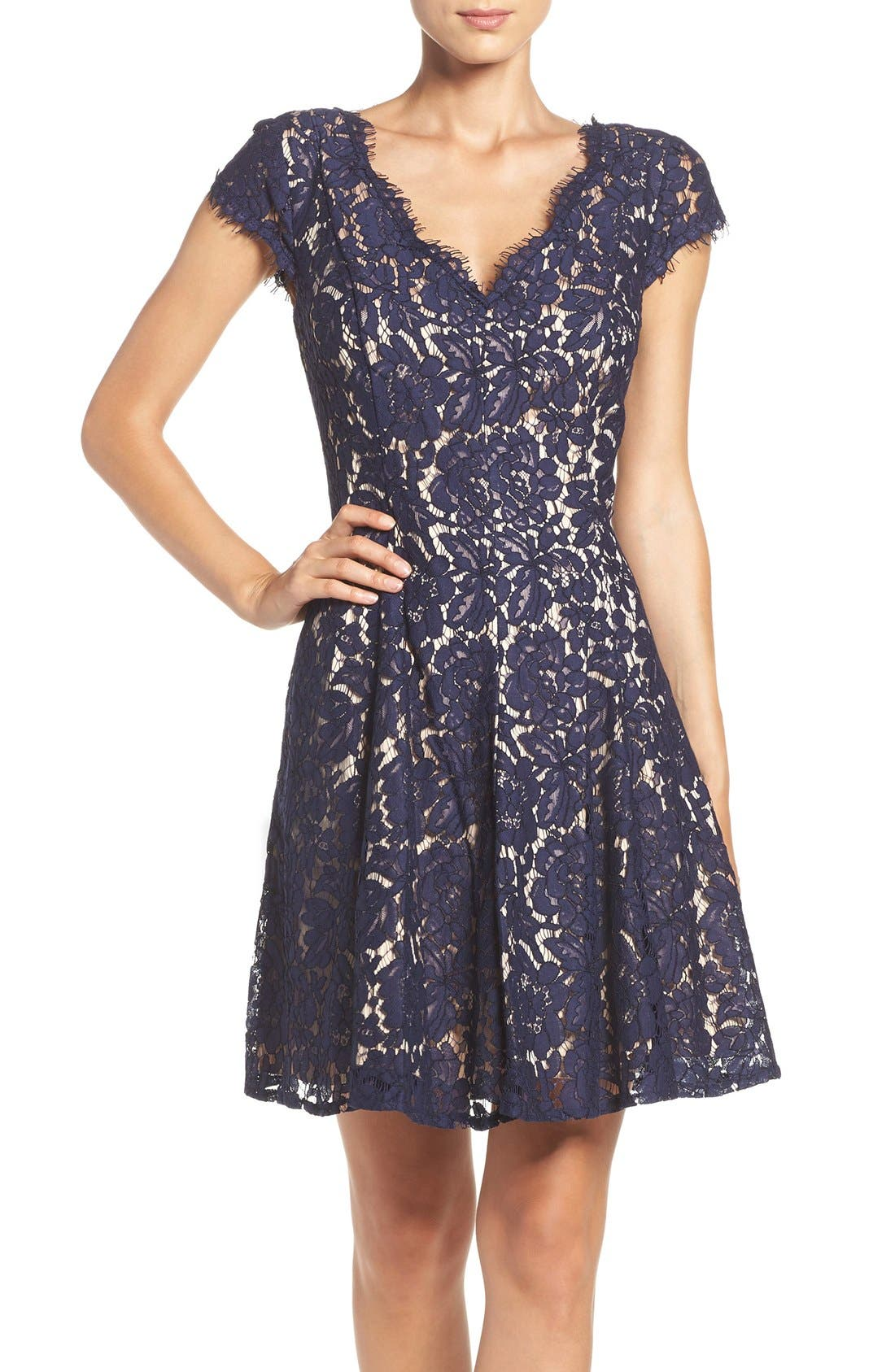 Lace Fit & Flare Dress,                         Main,                         color, Navy