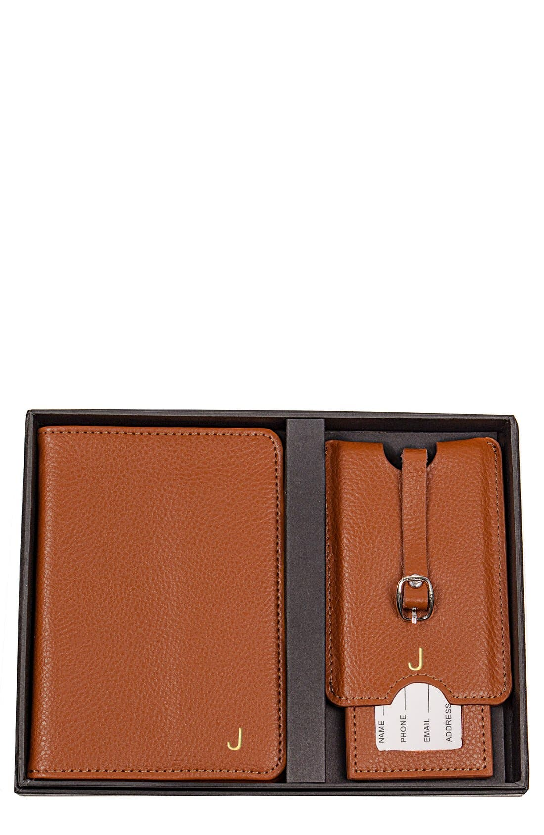 Monogram Passport Case & Luggage Tag,                             Main thumbnail 1, color,                             Brown - J