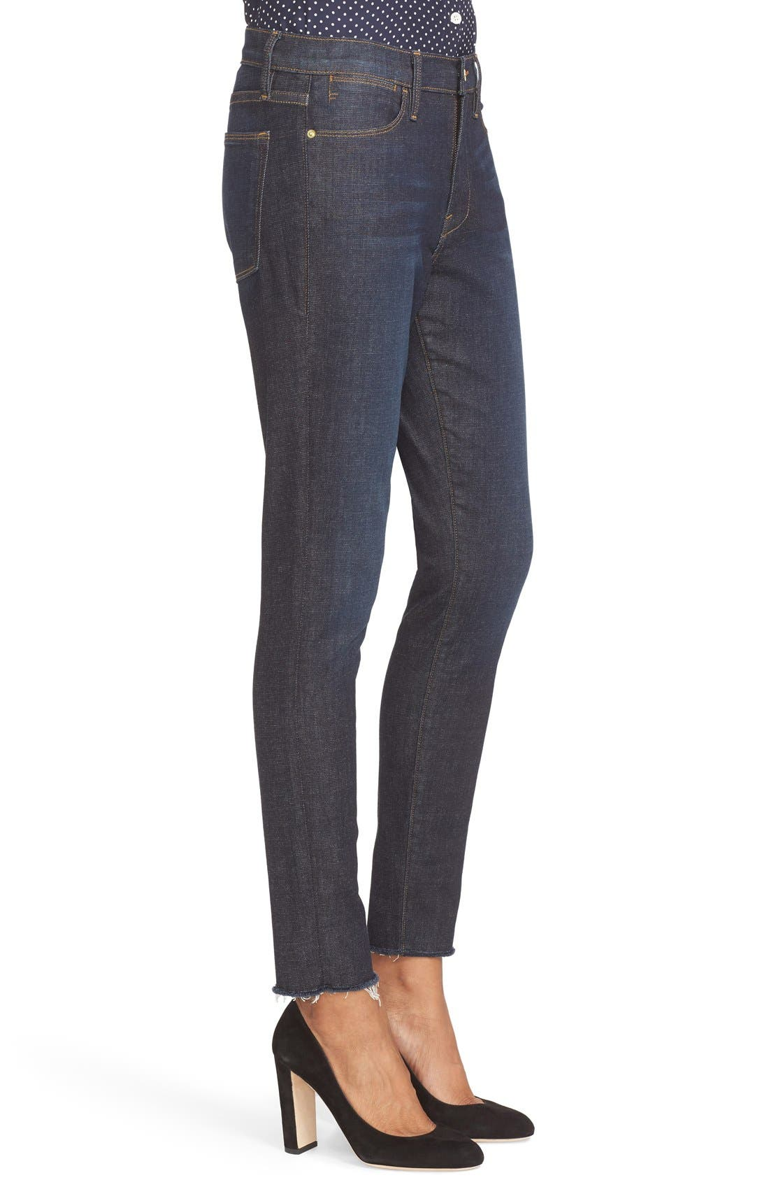 High Waist Skinny Jeans,                             Alternate thumbnail 3, color,                             Saltair