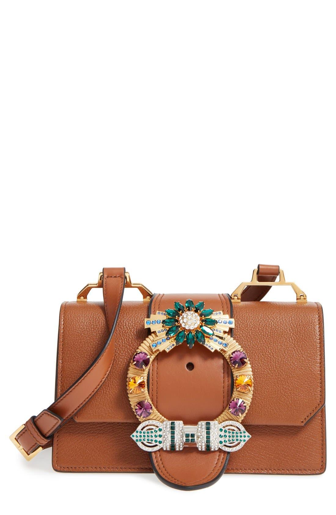'Small Madras' Crystal Embellished Leather Shoulder Bag,                         Main,                         color, Brandy