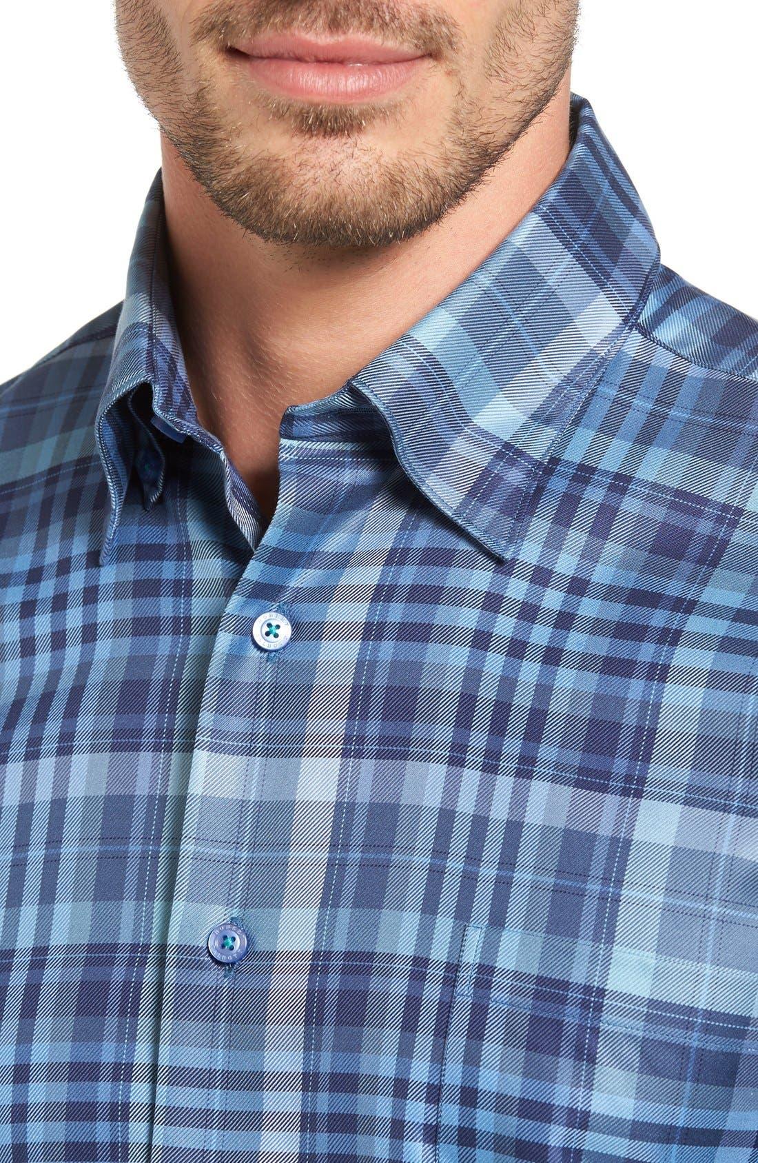 'Anderson' Classic Fit Plaid Sport Shirt,                             Alternate thumbnail 4, color,                             Maritime