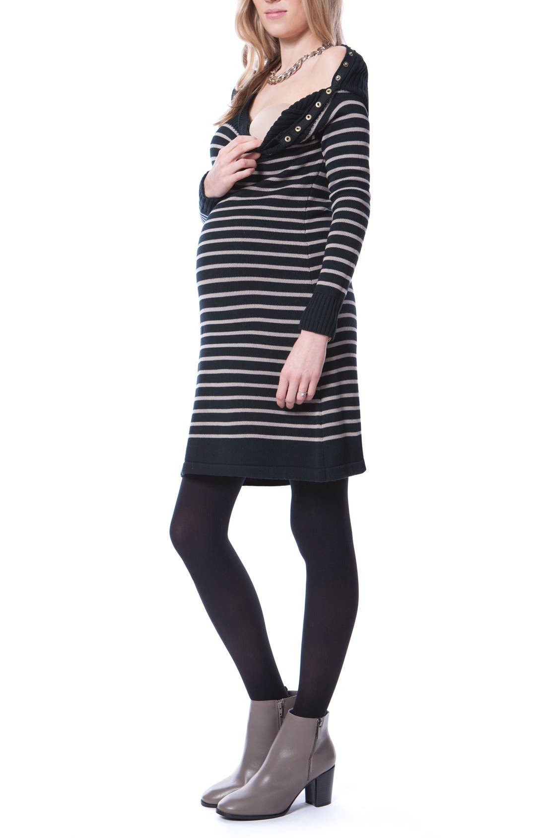 Hayden Stripe Maternity/Nursing Dress,                             Alternate thumbnail 3, color,                             Black/ Sand