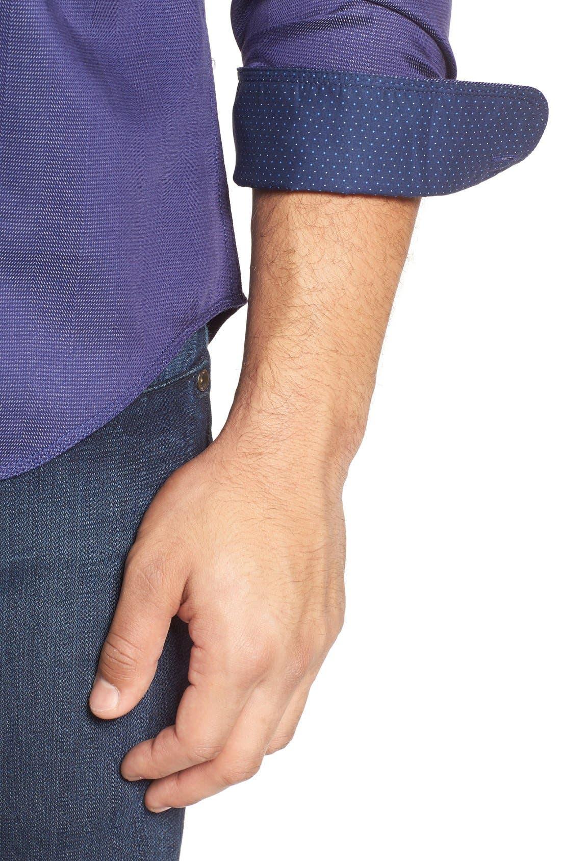 Shaped Fit Stripe Jacquard Sport Shirt,                             Alternate thumbnail 4, color,                             Night Blue