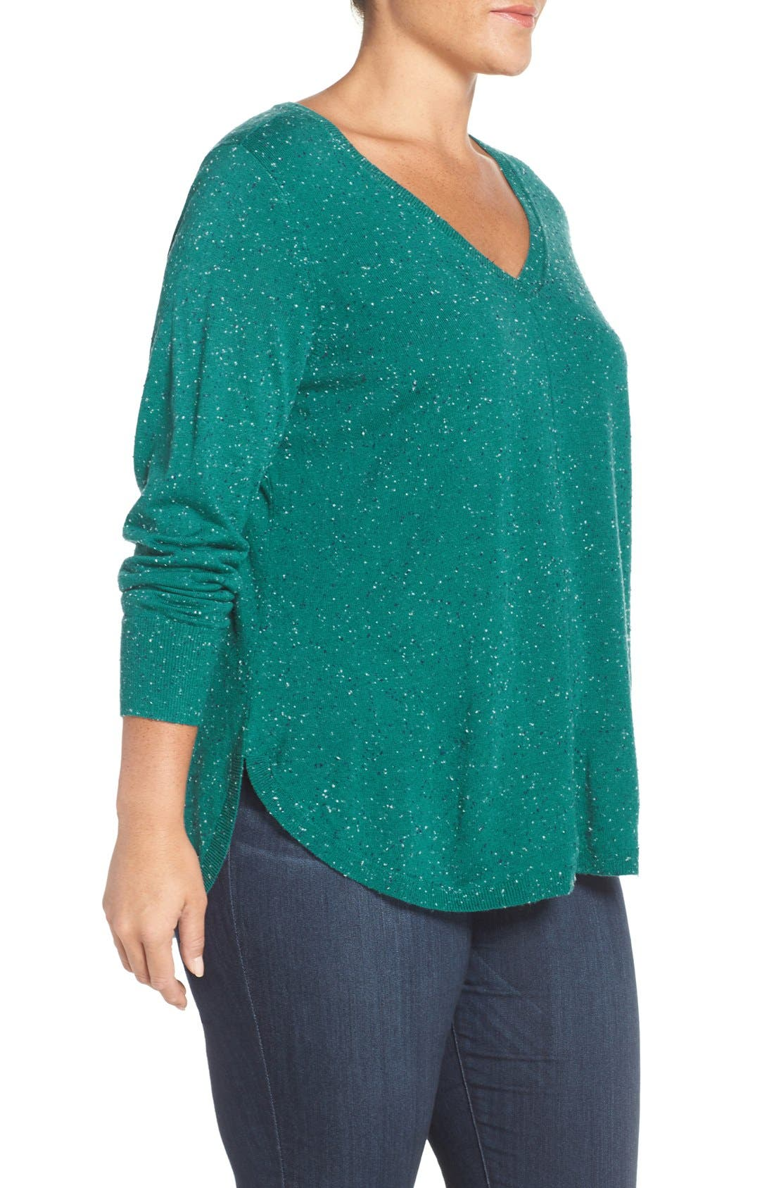 Alternate Image 3  - Caslon® Marled V-Neck Sweater (Plus Size)