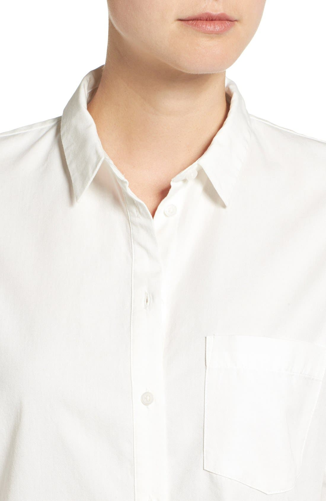 Drapey Oversize Boyshirt,                             Alternate thumbnail 4, color,                             Pure White