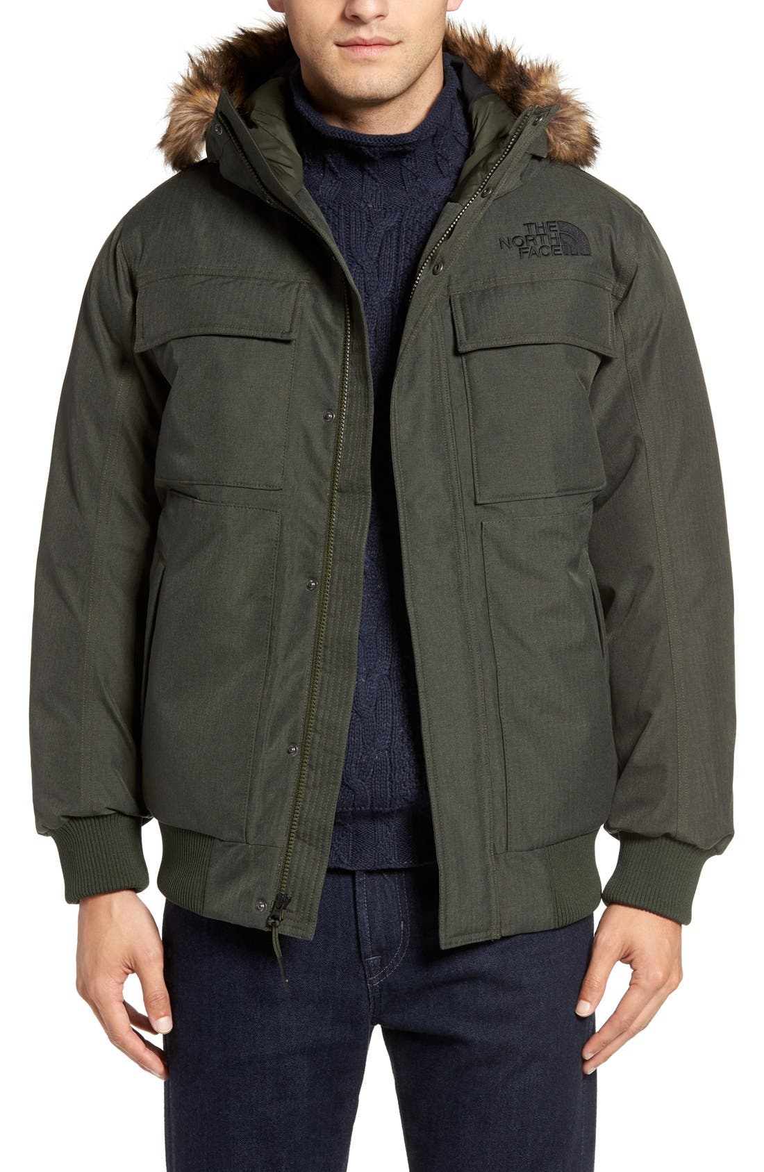 'Gotham II' Hooded Goose Down Jacket with Faux Fur Trim,                         Main,                         color, Climbing Ivy Green Heather
