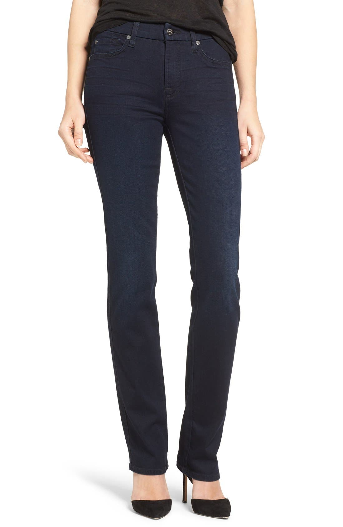Alternate Image 1 Selected - 7 For All Mankind® 'b(air) - Kimmie' Straight Leg Jeans (Blue Black River Thames)