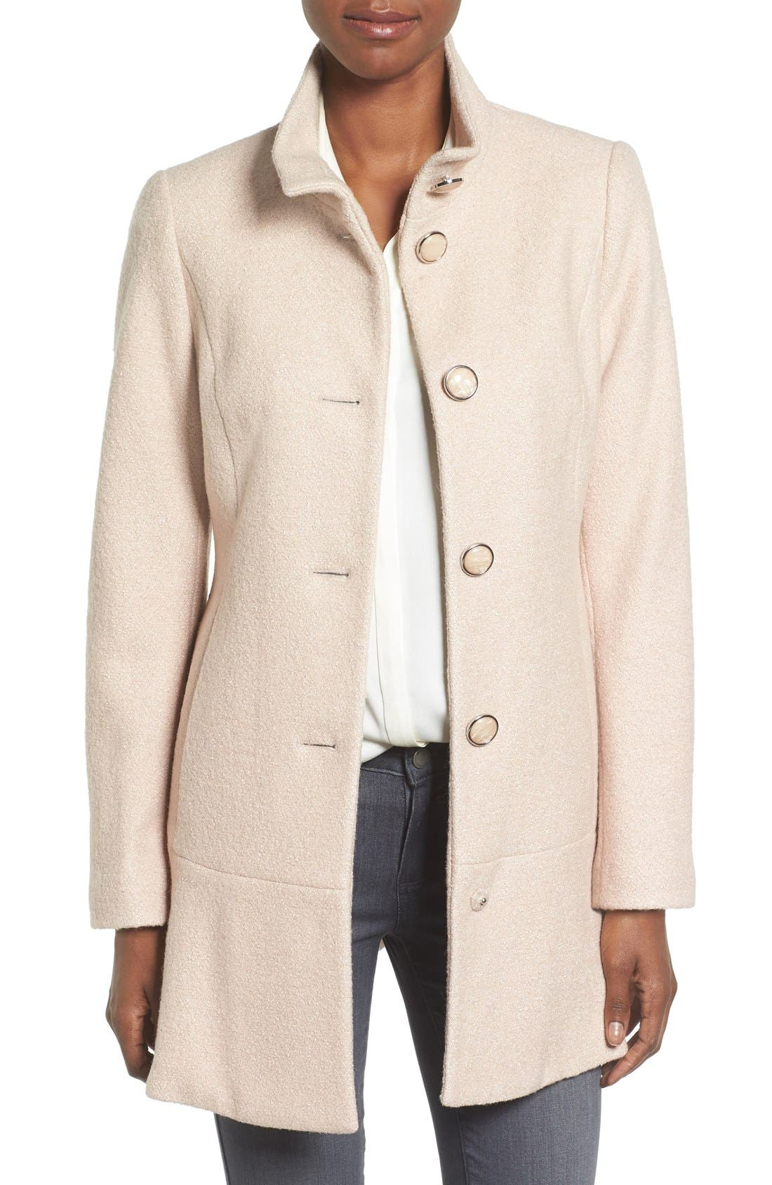 Single Breasted Ruffle Hem Coat,                         Main,                         color, Nude