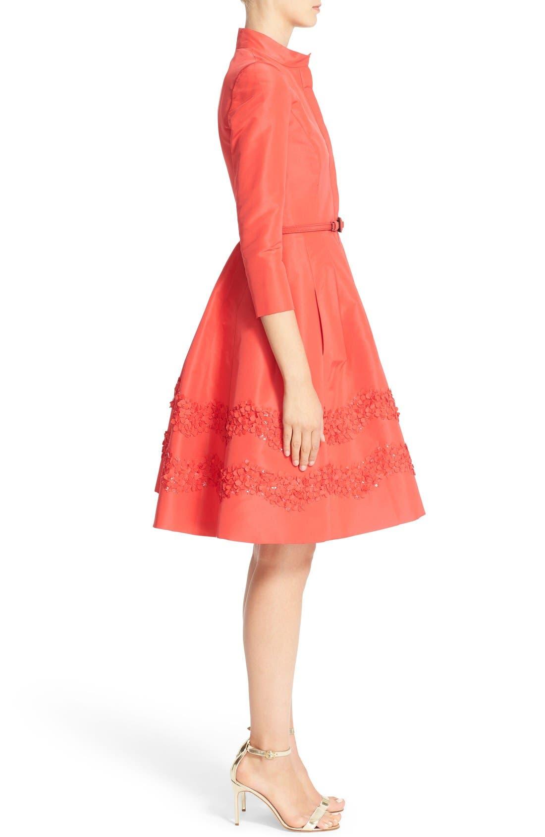 Alternate Image 4  - Carolina Herrera Embellished Belted Silk Faille A-Line Shirtdress