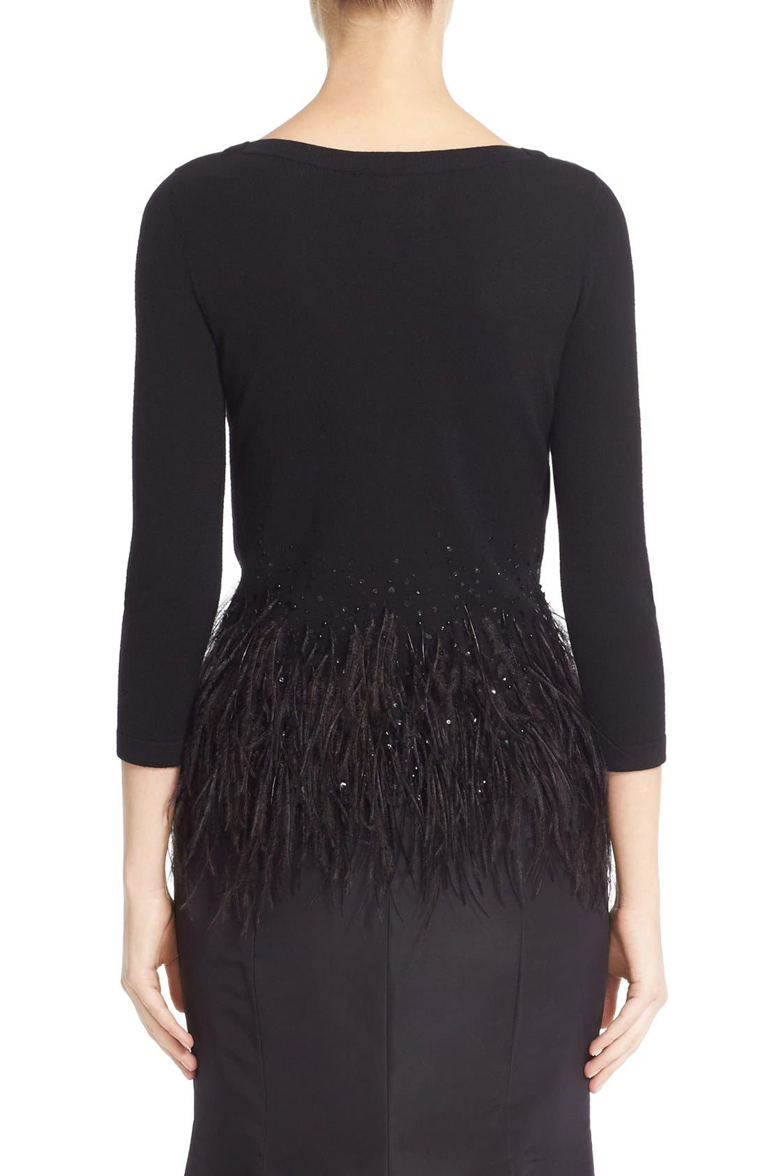 Alternate Image 2  - Carolina Herrera Sequin & Feather Trim Wool Sweater