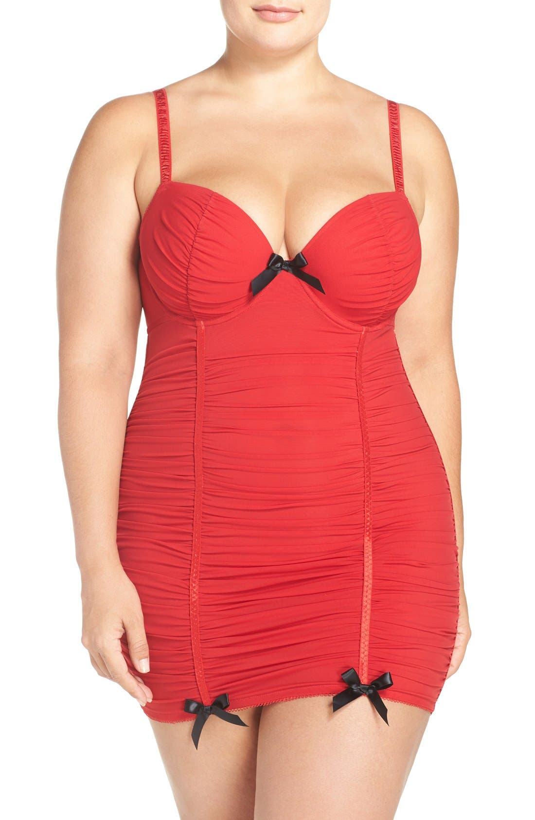Alternate Image 1 Selected - Black Bow 'Show Off' Ruched Underwire Chemise (Plus Size)