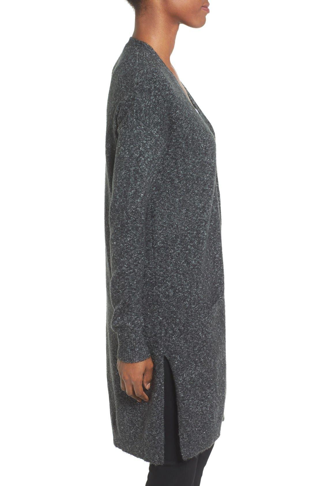 Long Knit Cardigan,                             Alternate thumbnail 3, color,                             Charcoal Marl