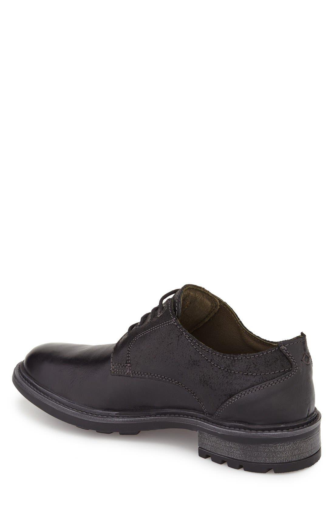 Oscar Plain Toe Derby,                             Alternate thumbnail 2, color,                             Black Leather