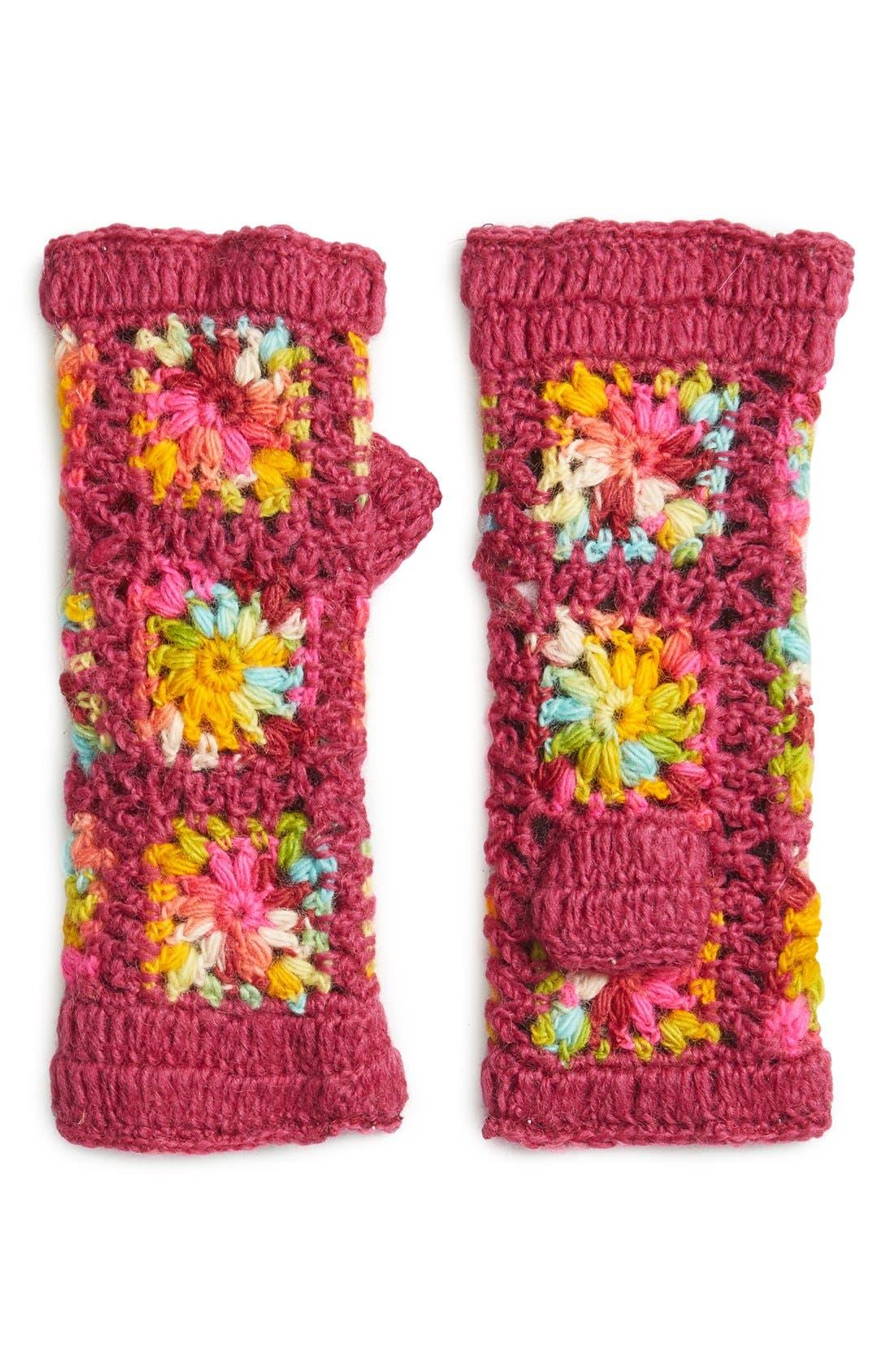 Flower Crochet Hand Warmers,                         Main,                         color, Pink Multi