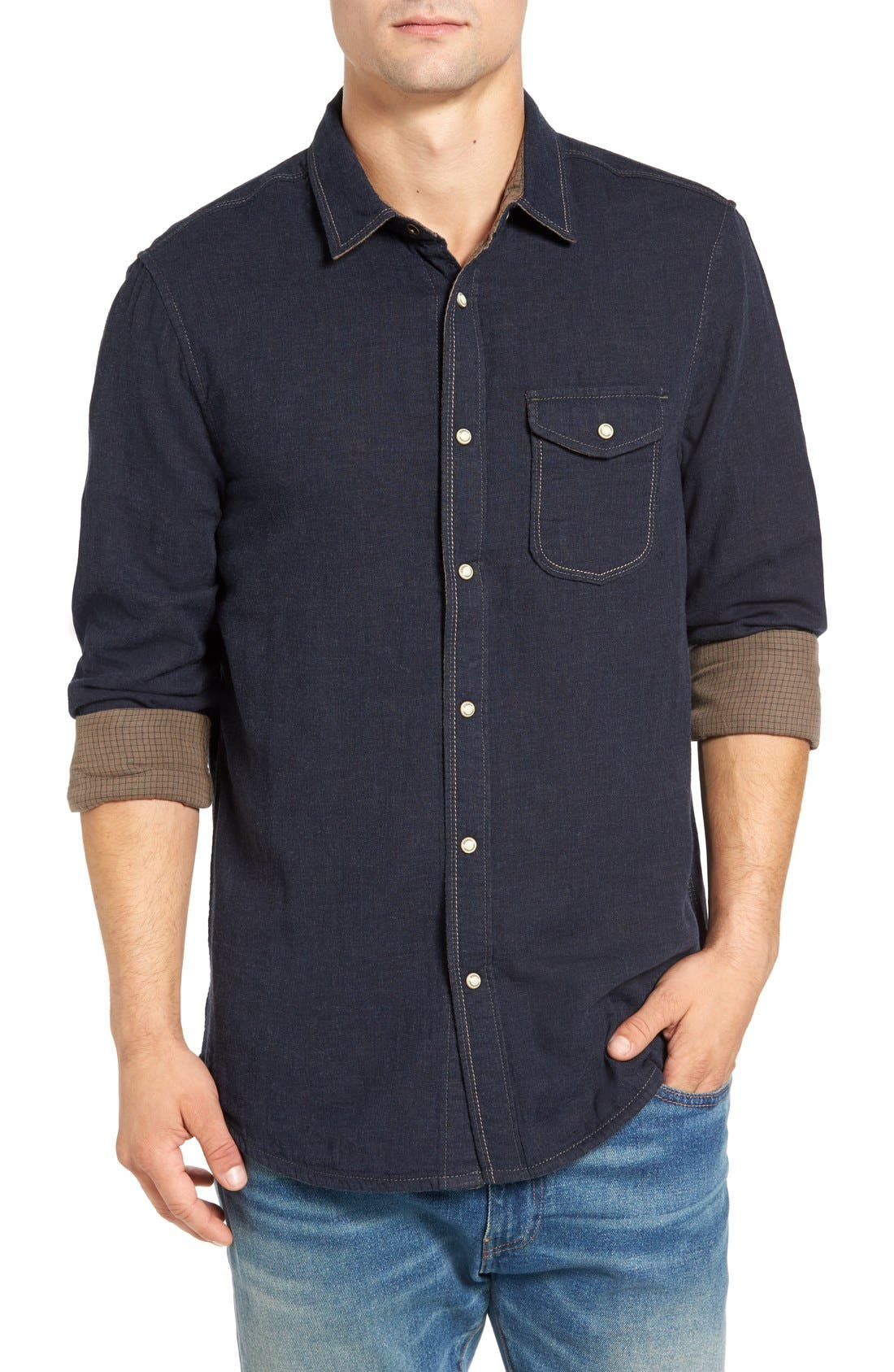 Chase Mélange Sport Shirt,                         Main,                         color, Victoria Heather