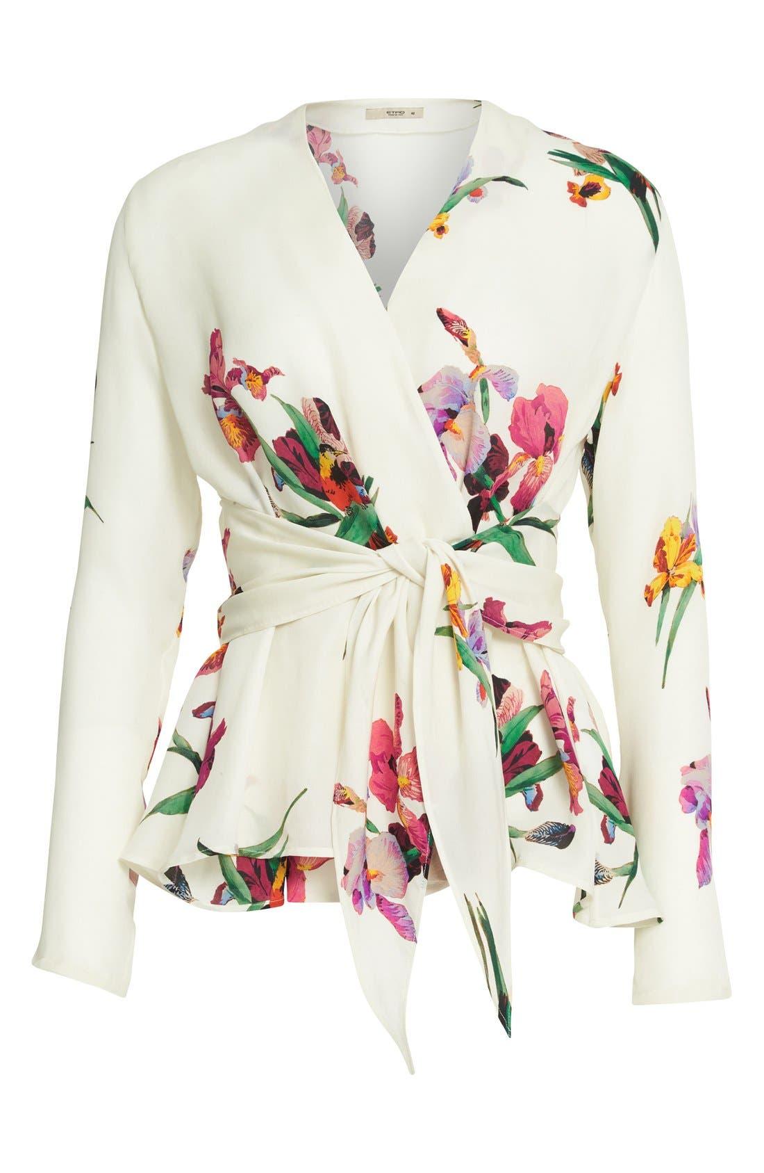 Alternate Image 4  - Etro Floral & Bird Print Silk Wrap Blouse