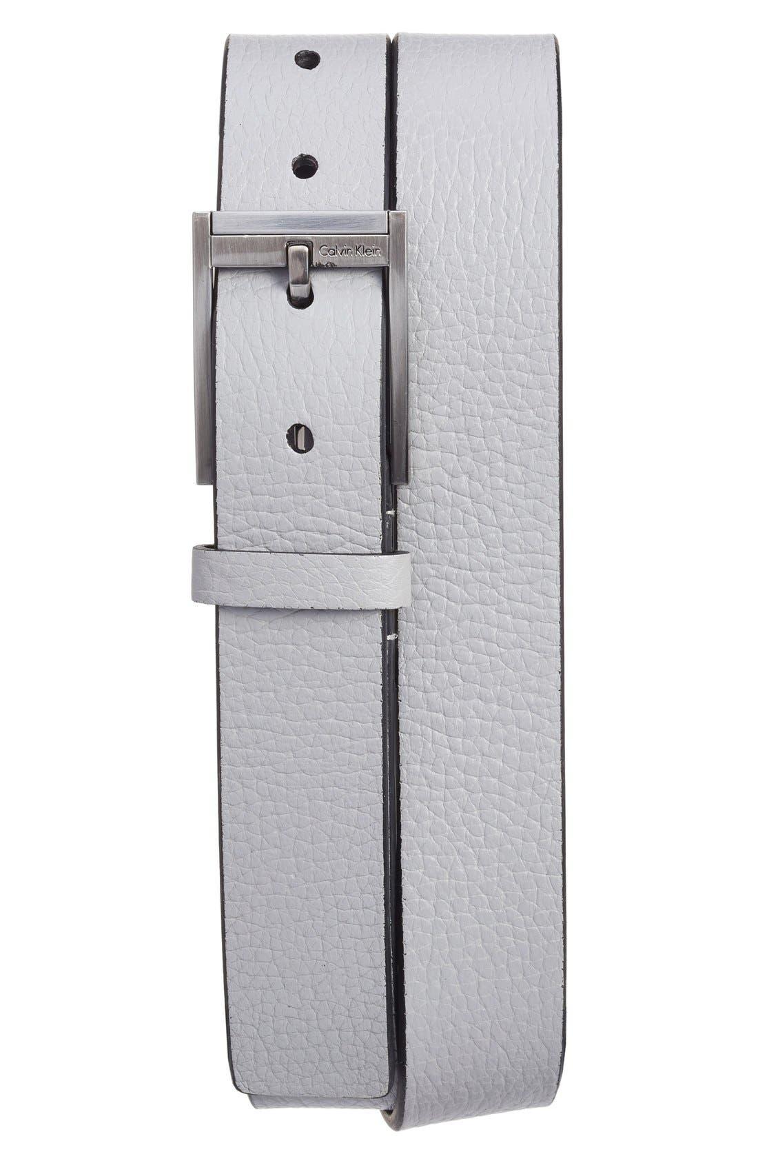 Contemporary Leather Belt,                         Main,                         color, Greystone