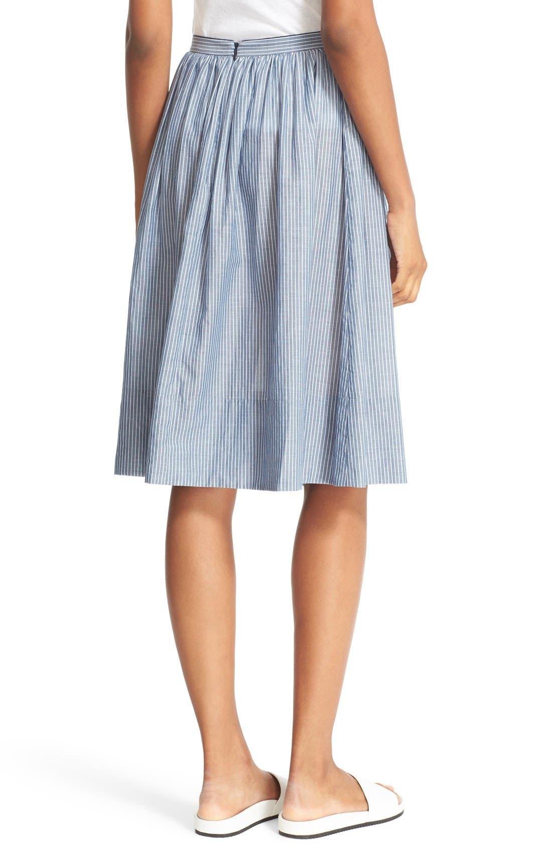 Alternate Image 3  - Vince Shirred Stripe Full Cotton Skirt