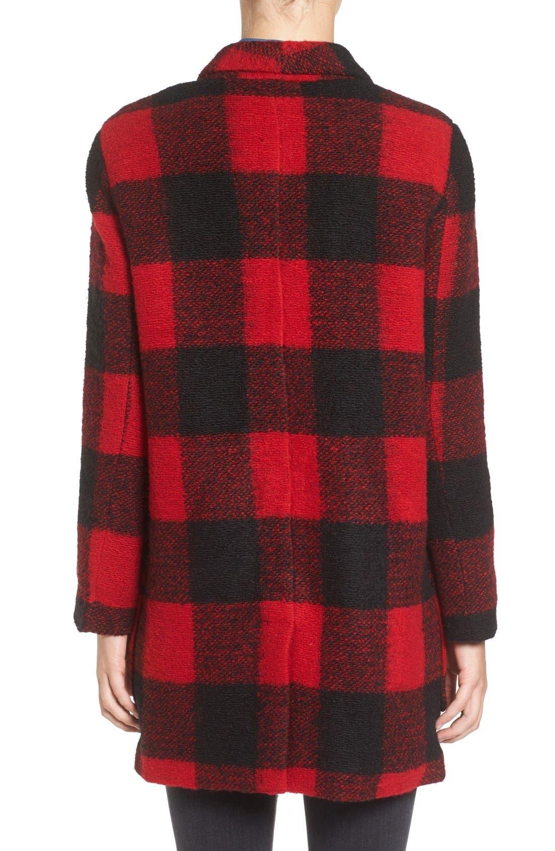 Alternate Image 2  - BB Dakota Holton Plaid Shawl Collar Coat