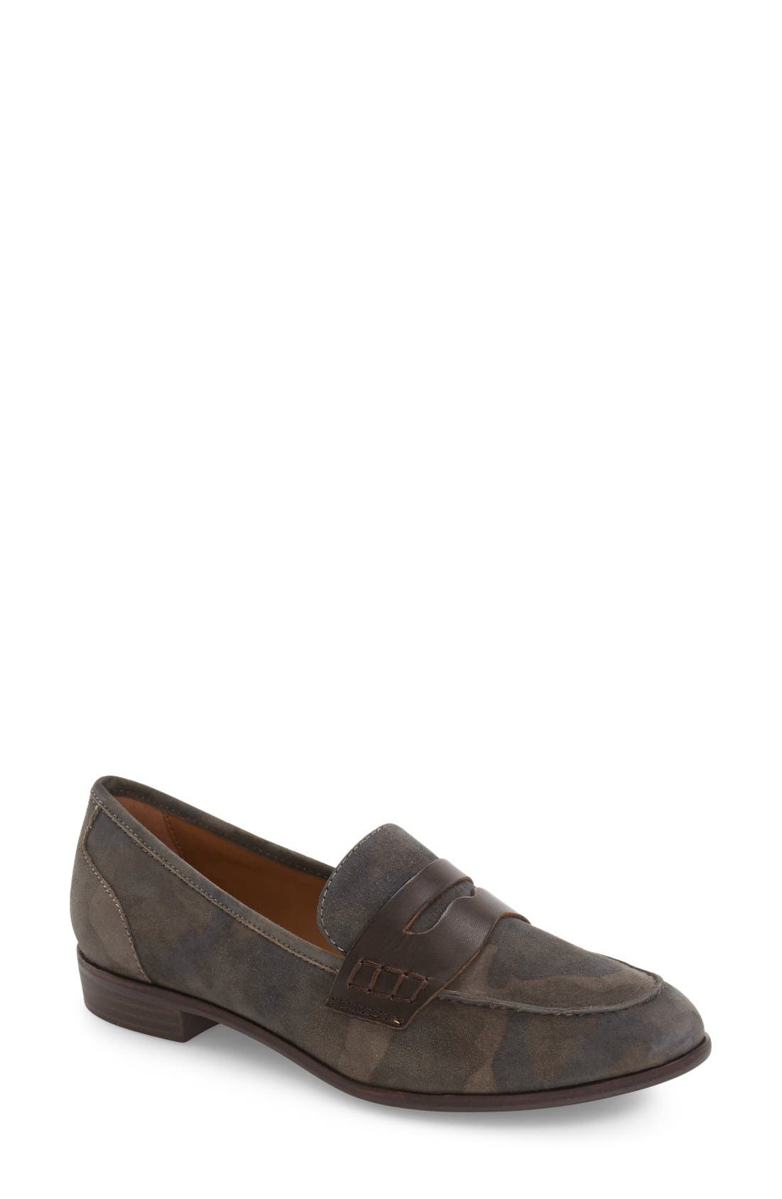 Emilia Penny Loafer,                         Main,                         color, Camo/ Espresso Suede