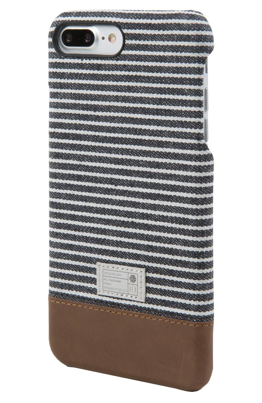 Focus iPhone 7/8 Plus Case,                         Main,                         color, Black/ Grey Stripe Canvas