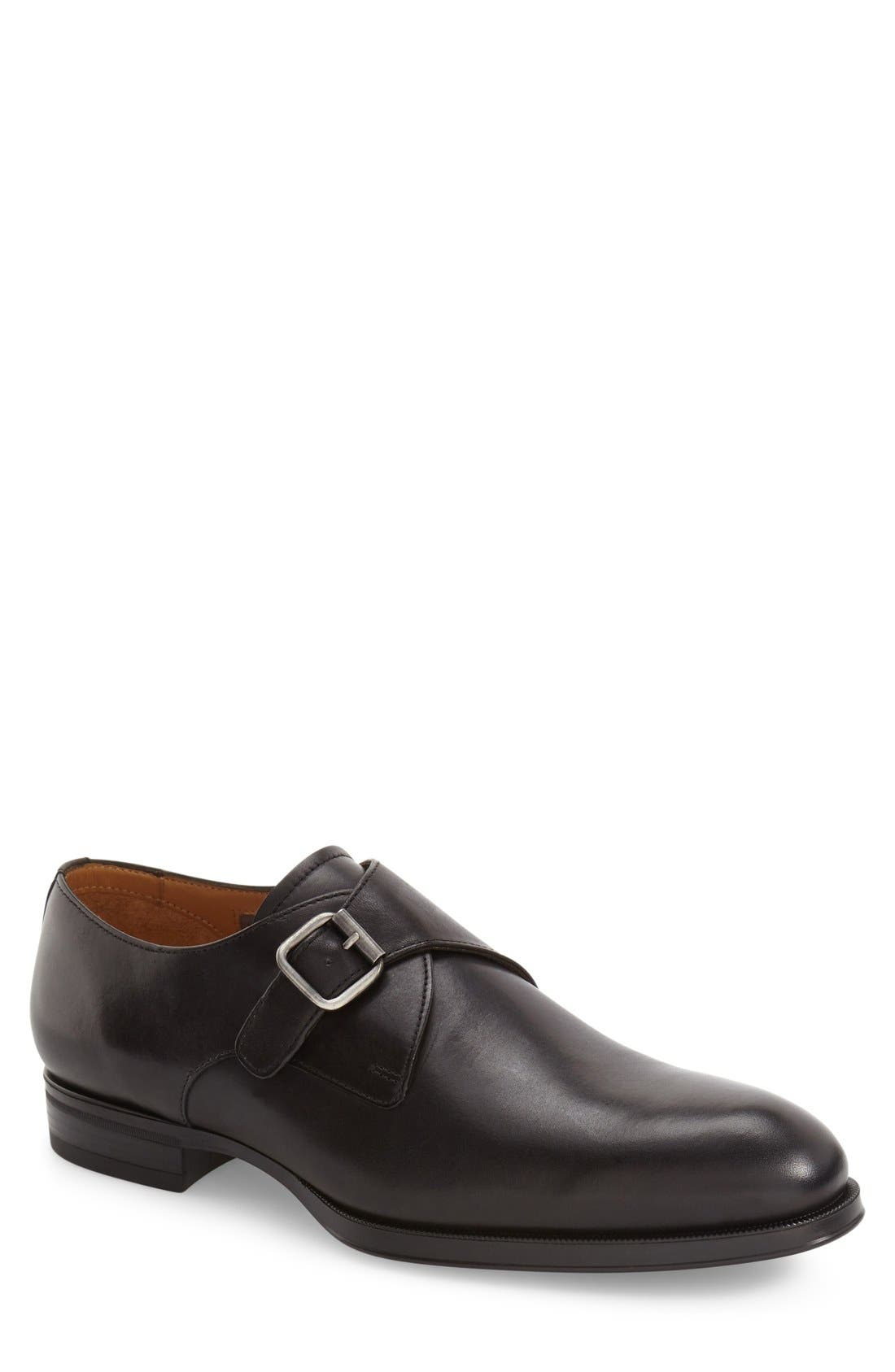 'Trifolo' Monk Strap Shoe,                             Main thumbnail 1, color,                             Black Leather