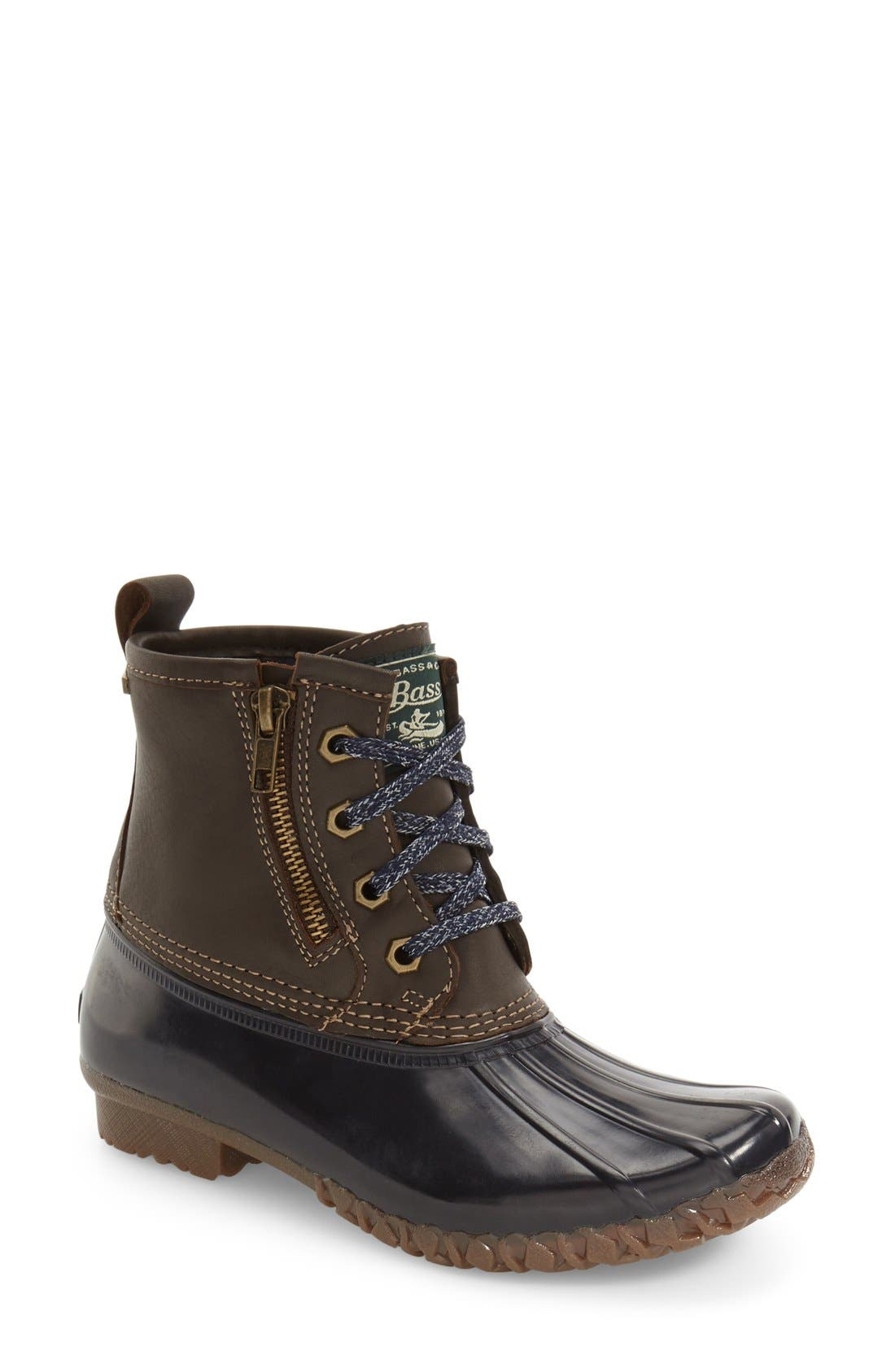 Danielle Waterproof Duck Boot,                             Main thumbnail 1, color,                             Chocolate/ Navy Leather
