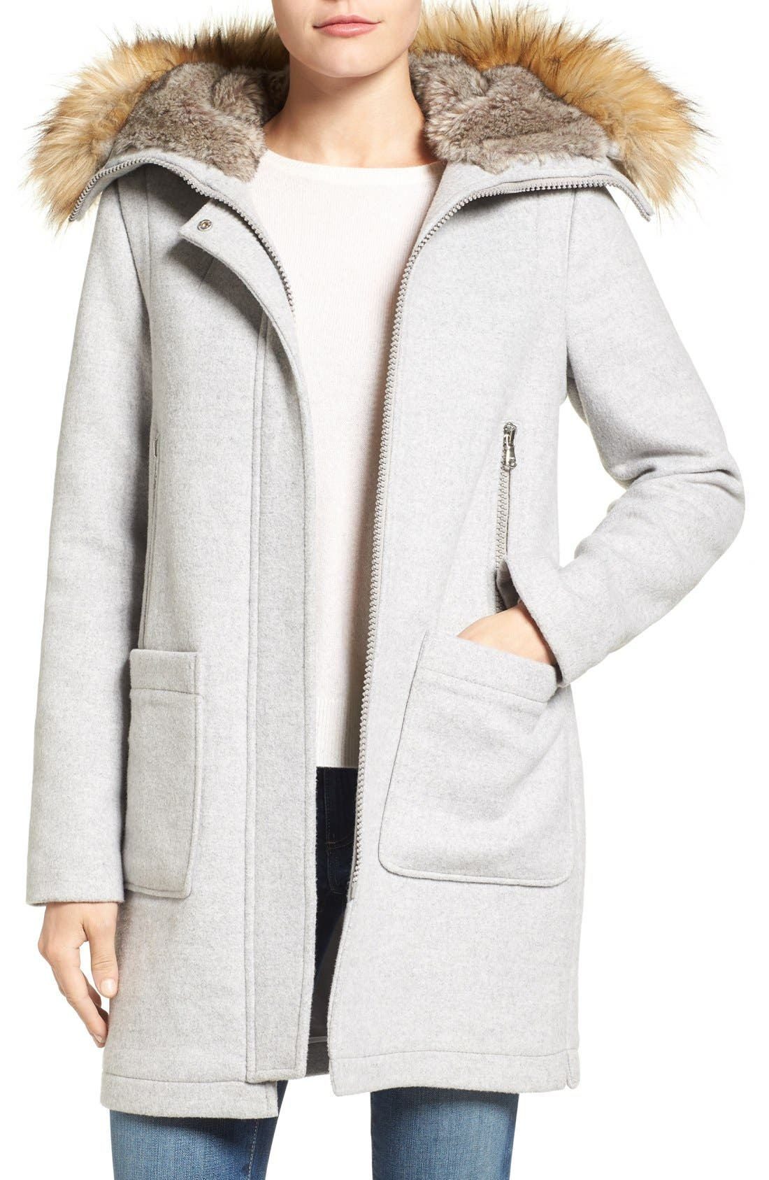Wool Blend Duffle Coat with Faux Fur Trim Hood,                         Main,                         color, Light Grey