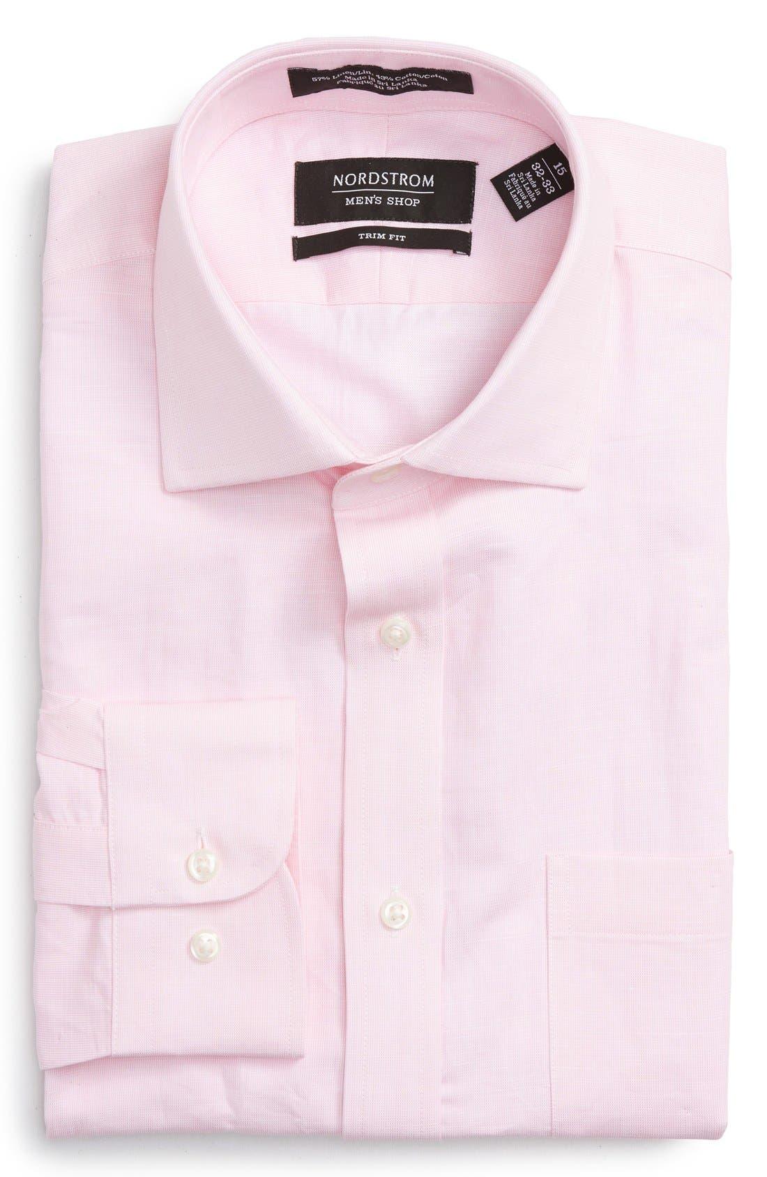 Main Image - Nordstrom Men's Shop Trim Fit Solid Linen & Cotton Dress Shirt