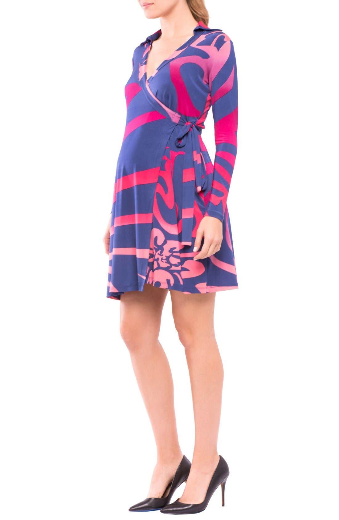 Lorraine Wrap Maternity Dress,                             Alternate thumbnail 6, color,                             Pink/ Blue Print