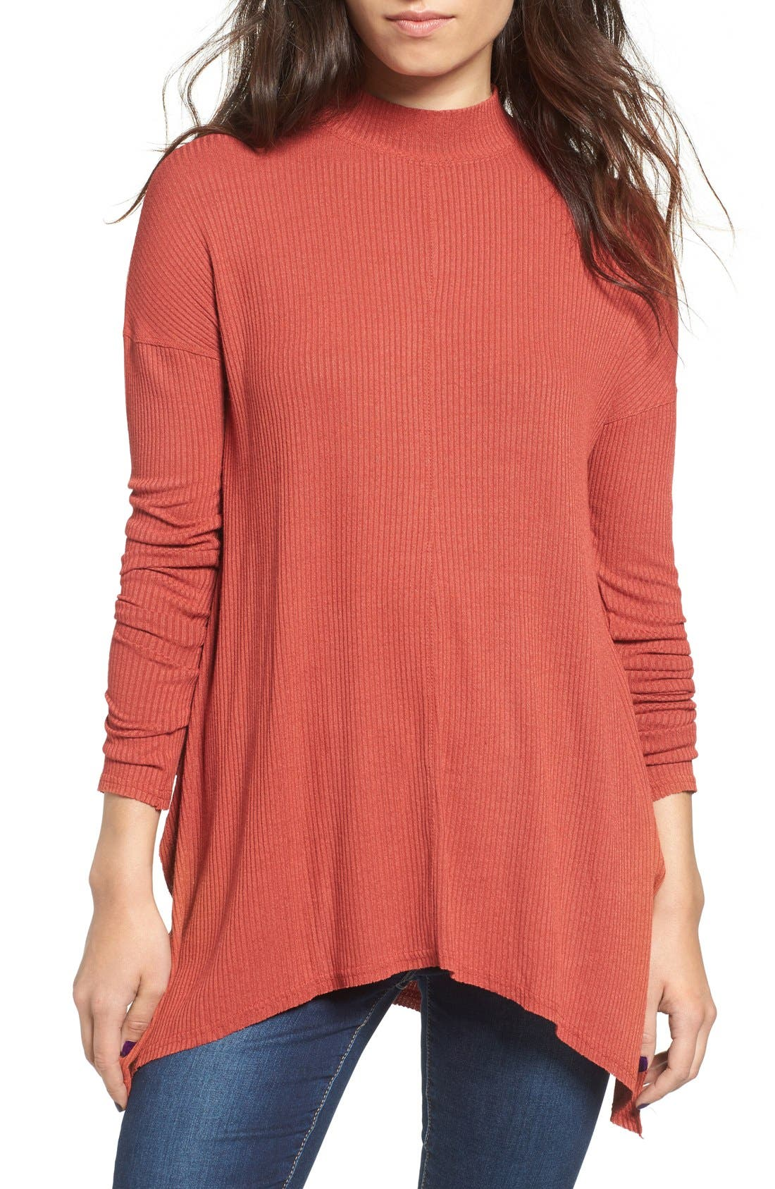 Main Image - Sun & Shadow Mock Neck Knit Tunic