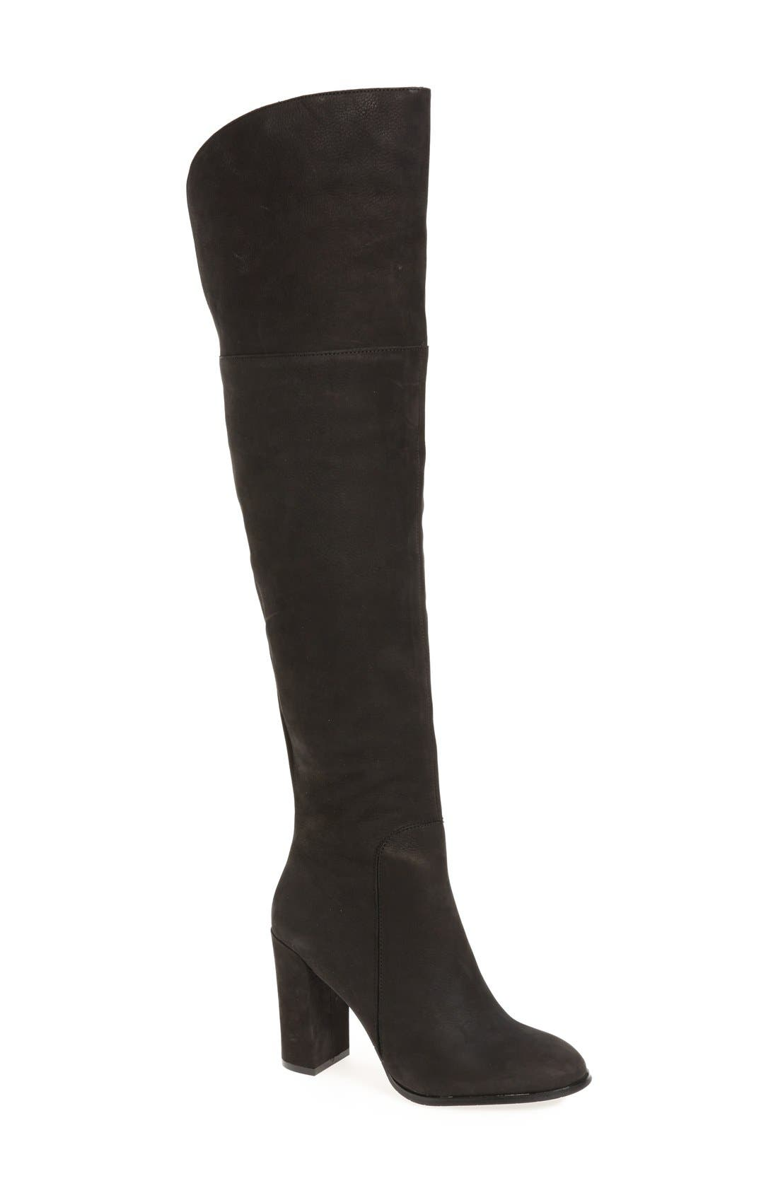 Over the Knee Jack Boot,                             Main thumbnail 1, color,                             Black Nubuck Leather