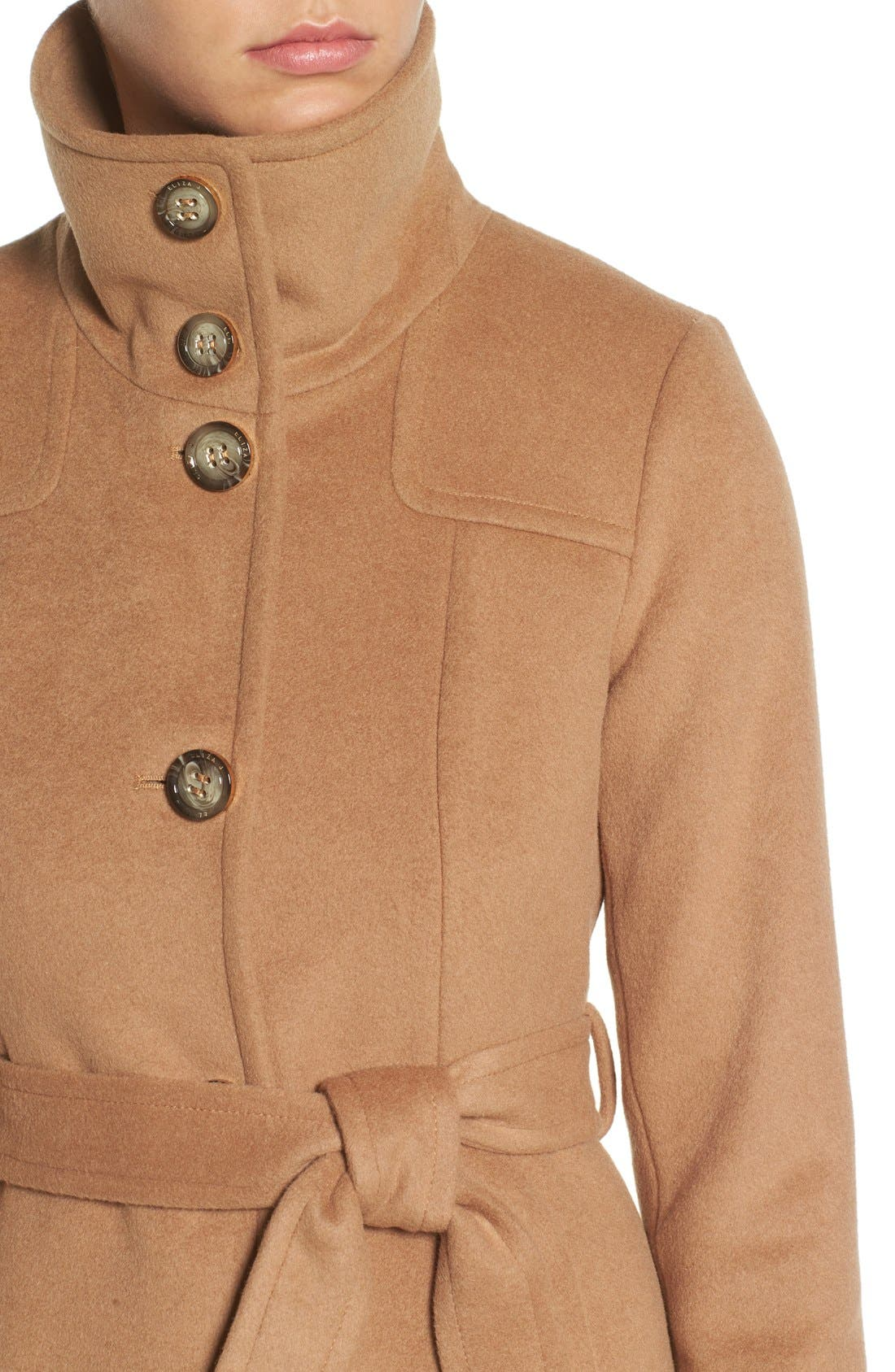 Alternate Image 4  - Eliza J Luxe Wool Blend Belted Long A-Line Coat
