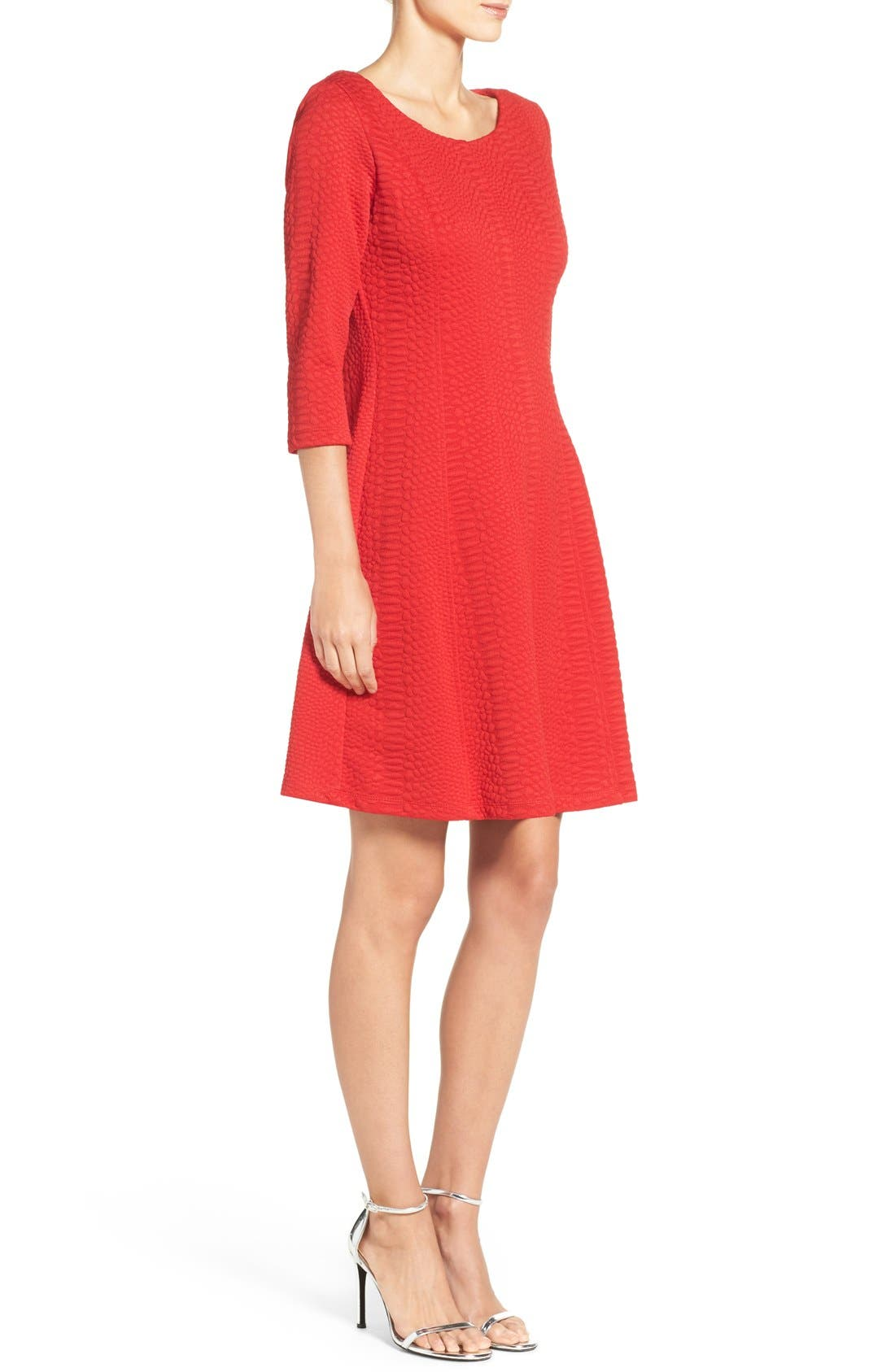 Jacquard Knit Fit & Flare Dress,                             Alternate thumbnail 3, color,                             Red