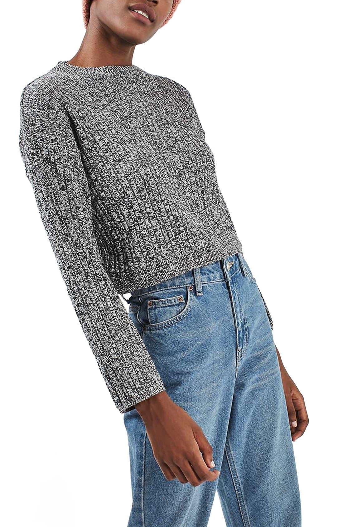 Main Image - Topshop Marled Crop Sweater