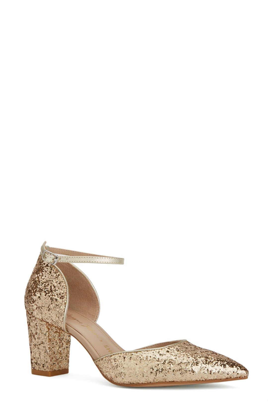 x Megan Hess Fleur-de-lis Collection Pump,                             Main thumbnail 1, color,                             Gold Sparkle