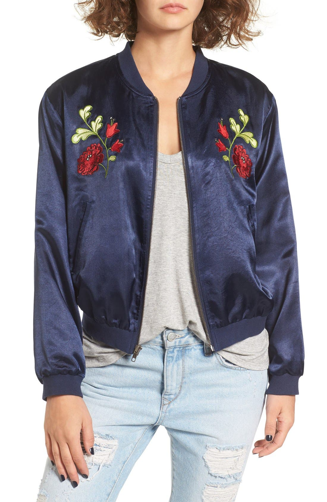 Main Image - Tularosa Mara Embroidered Satin Bomber Jacket