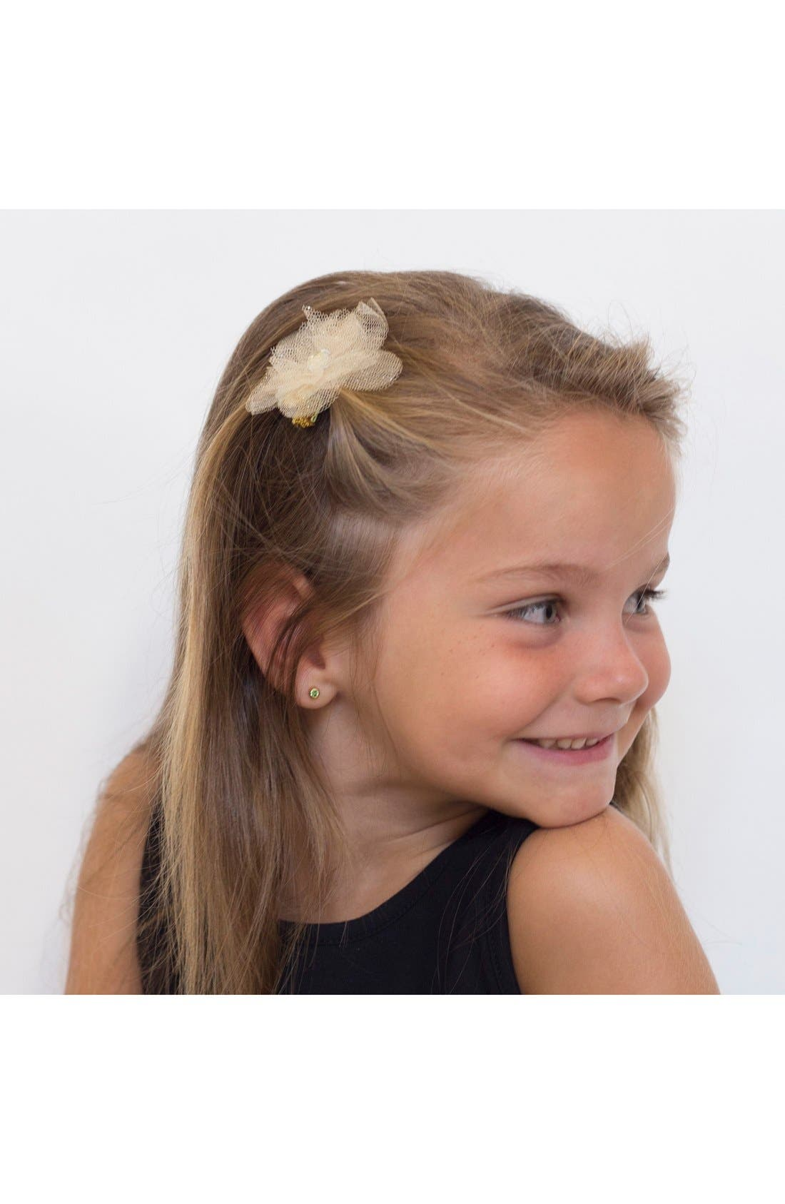 Alternate Image 2  - PLH Bows & Laces Set of 2 Glitter Flower Hair Clips (Baby Girls)