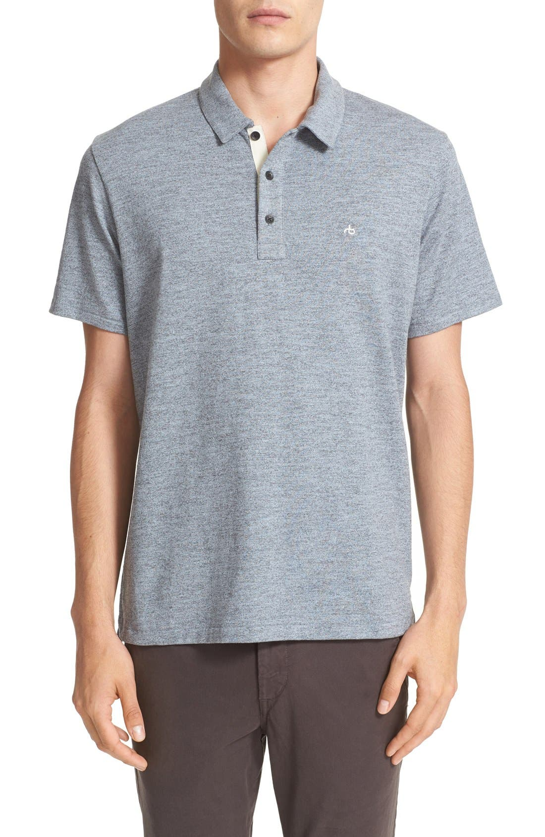 Main Image - rag & bone Standard Issue Regular Fit Slub Cotton Polo