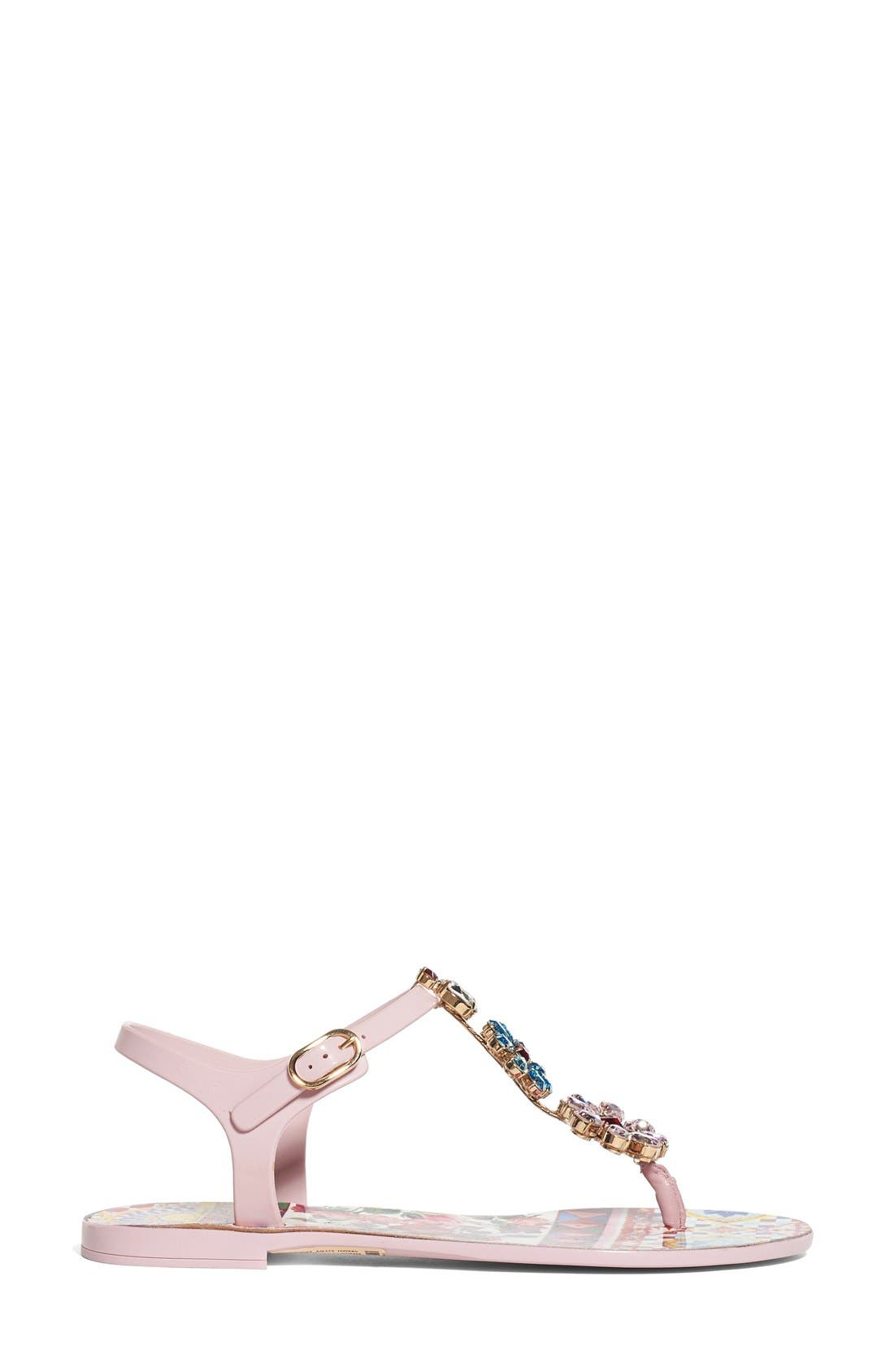 Alternate Image 4  - Dolce&Gabbana Carretto Embellished Jelly Sandal (Women)