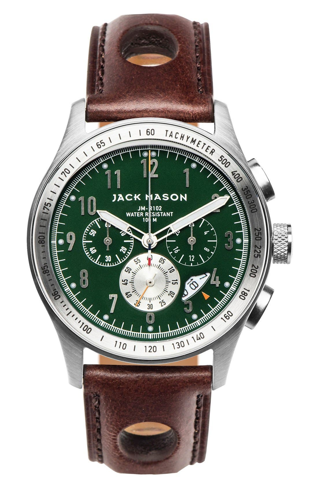 Racing Chronograph Leather Strap Watch, 42mm case,                             Main thumbnail 1, color,                             Green/ Brown