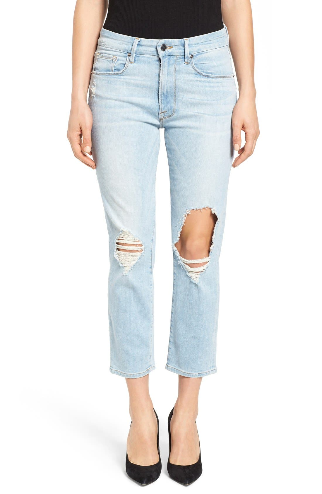 Good American Good Cuts High Rise Ripped Boyfriend Jeans (Blue 011)