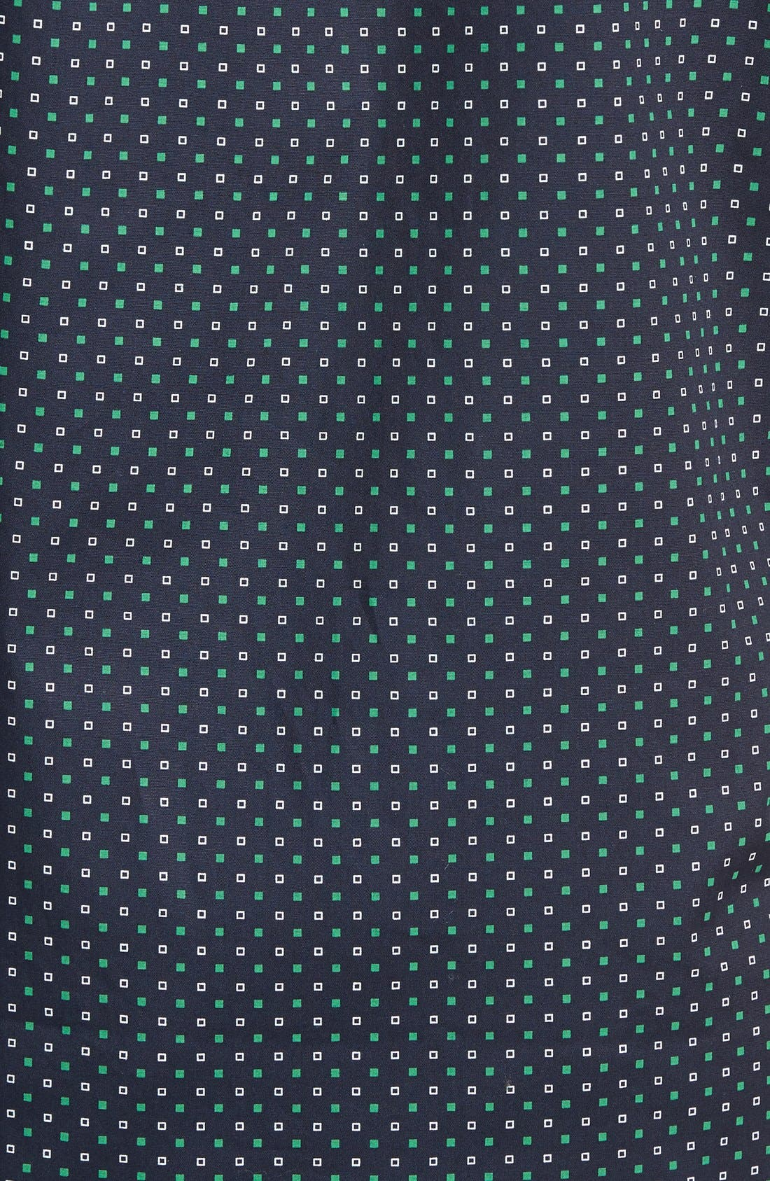 Chameleon Trim Fit Print Woven Shirt,                             Alternate thumbnail 5, color,                             Green