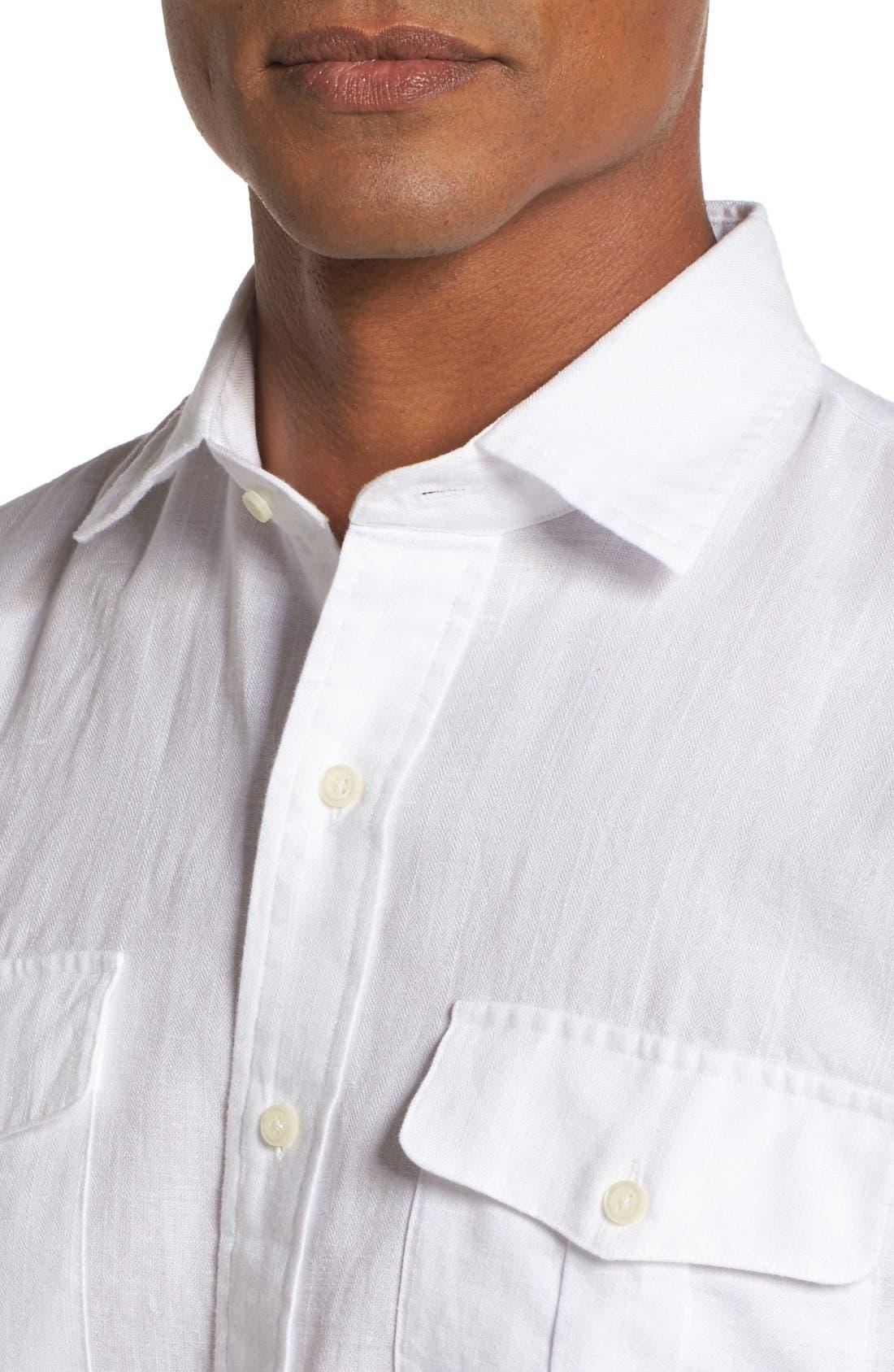 Alternate Image 4  - Peter Millar Harkers Herringbone Regular Fit Sport Shirt
