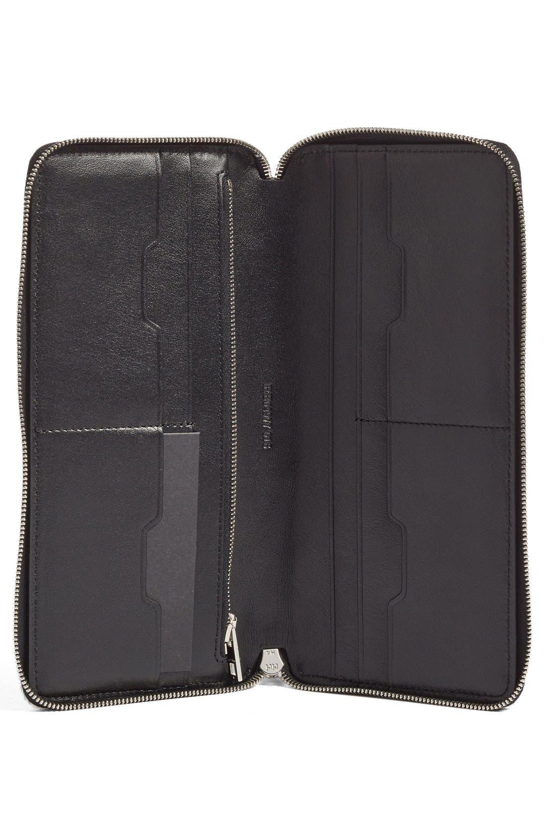 Leather Zip Around Wallet,                             Alternate thumbnail 2, color,                             Black