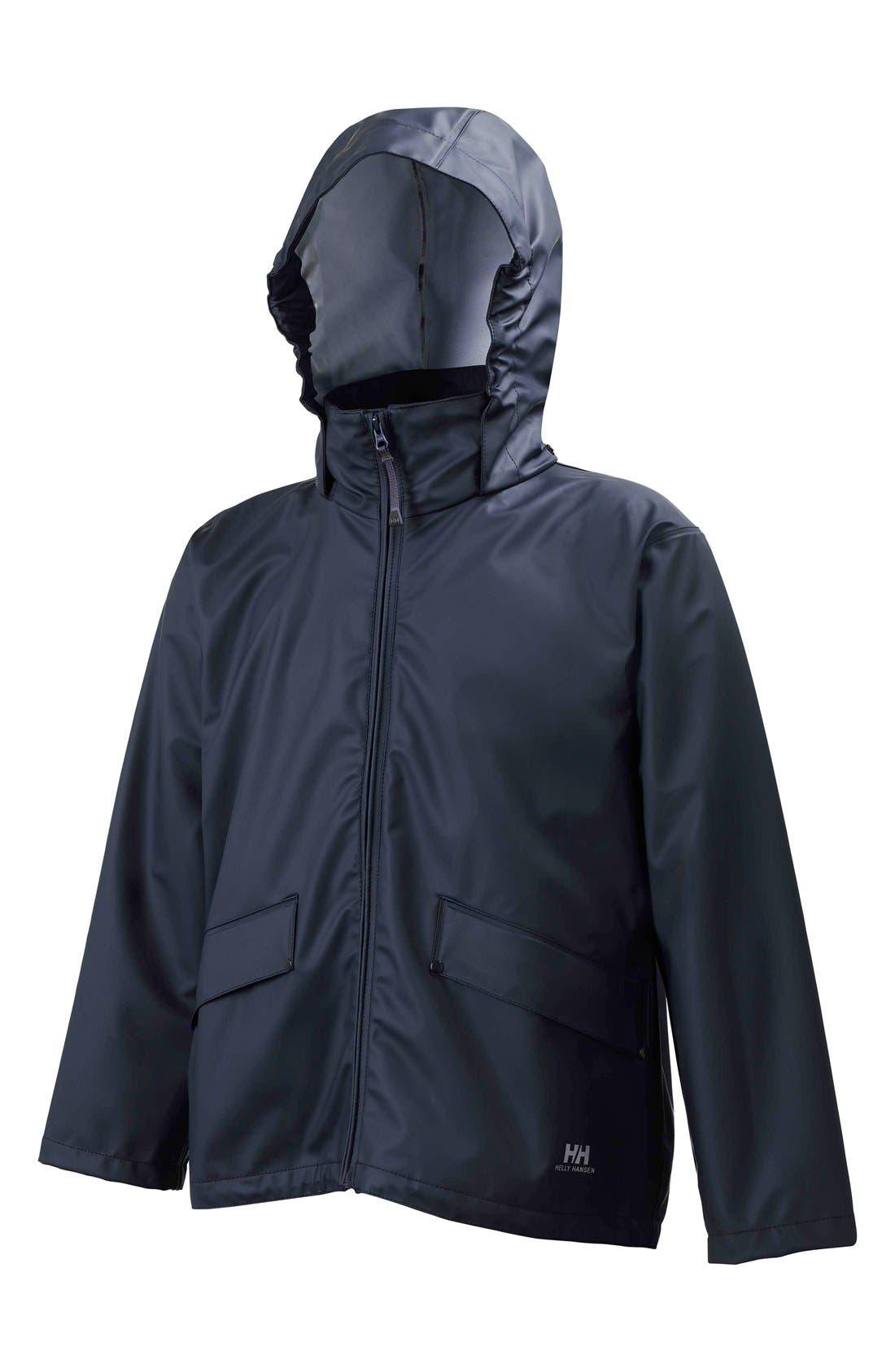 Jr. Voss Waterproof Rain Jacket,                         Main,                         color, Classic Navy