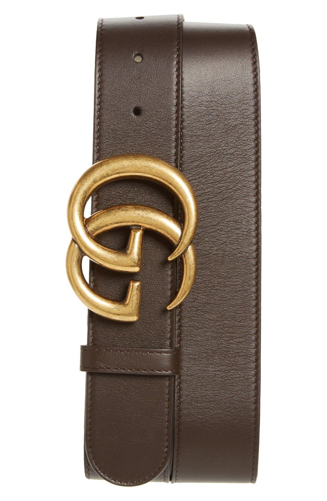 Alternate Image 1 Selected - Gucci Logo Leather Belt