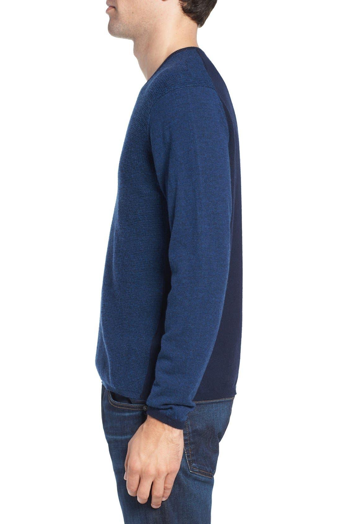 V-Neck Colorblock Merino Wool Pullover,                             Alternate thumbnail 3, color,                             Blue