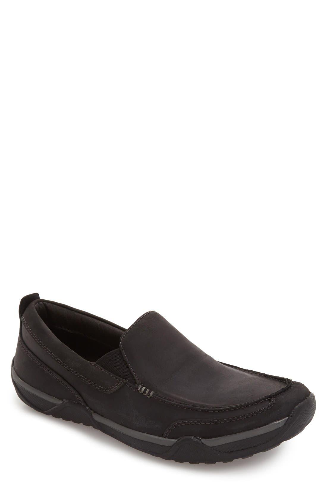 Markis Moc Toe Slip-On,                             Main thumbnail 1, color,                             Black Leather